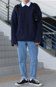 Over-fit ANT NAVY Knit