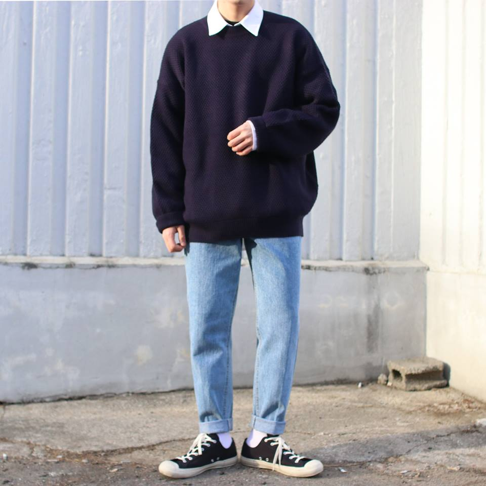 Over-fit TIPS  BLUE Knit