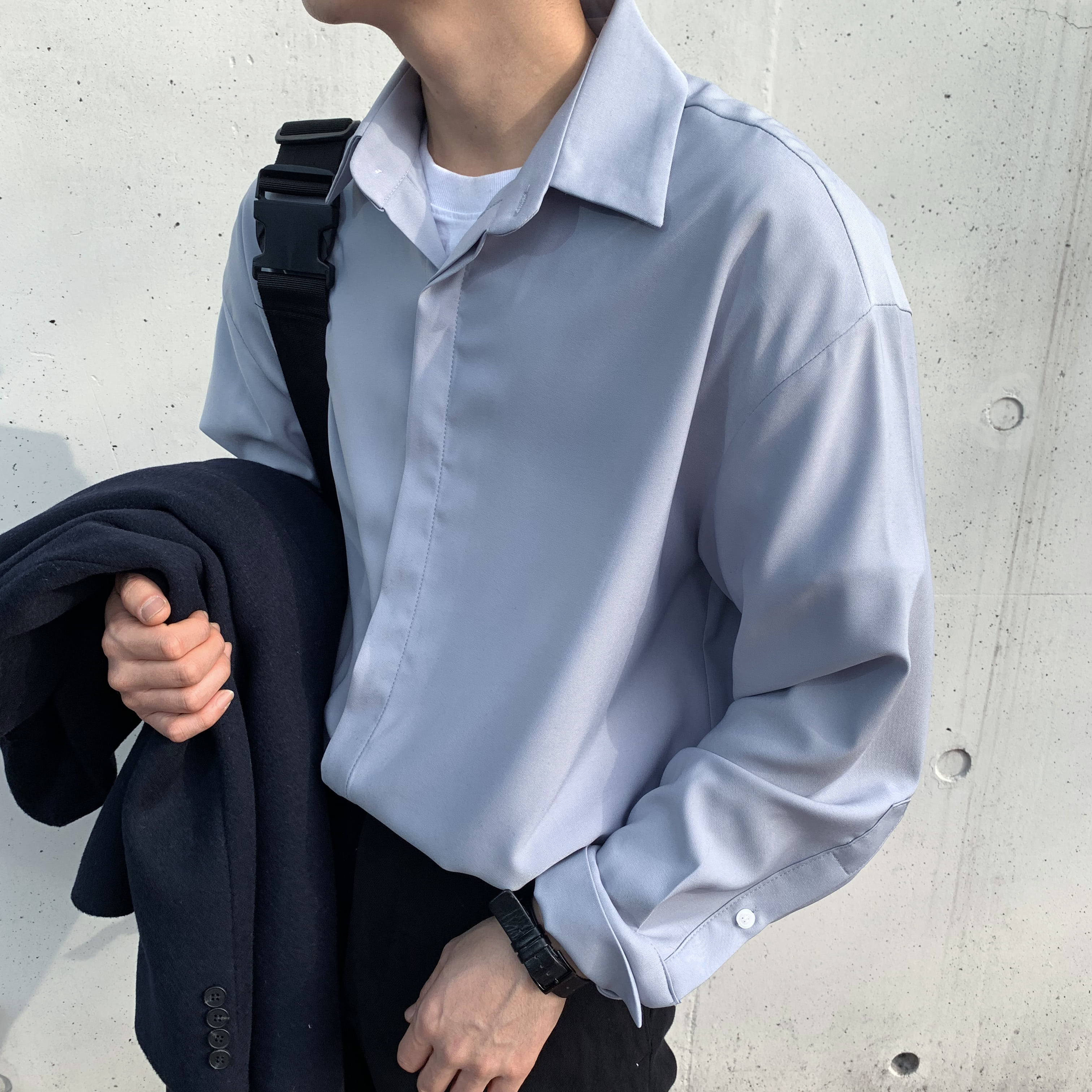 Over-fit Grey Blue Shirts