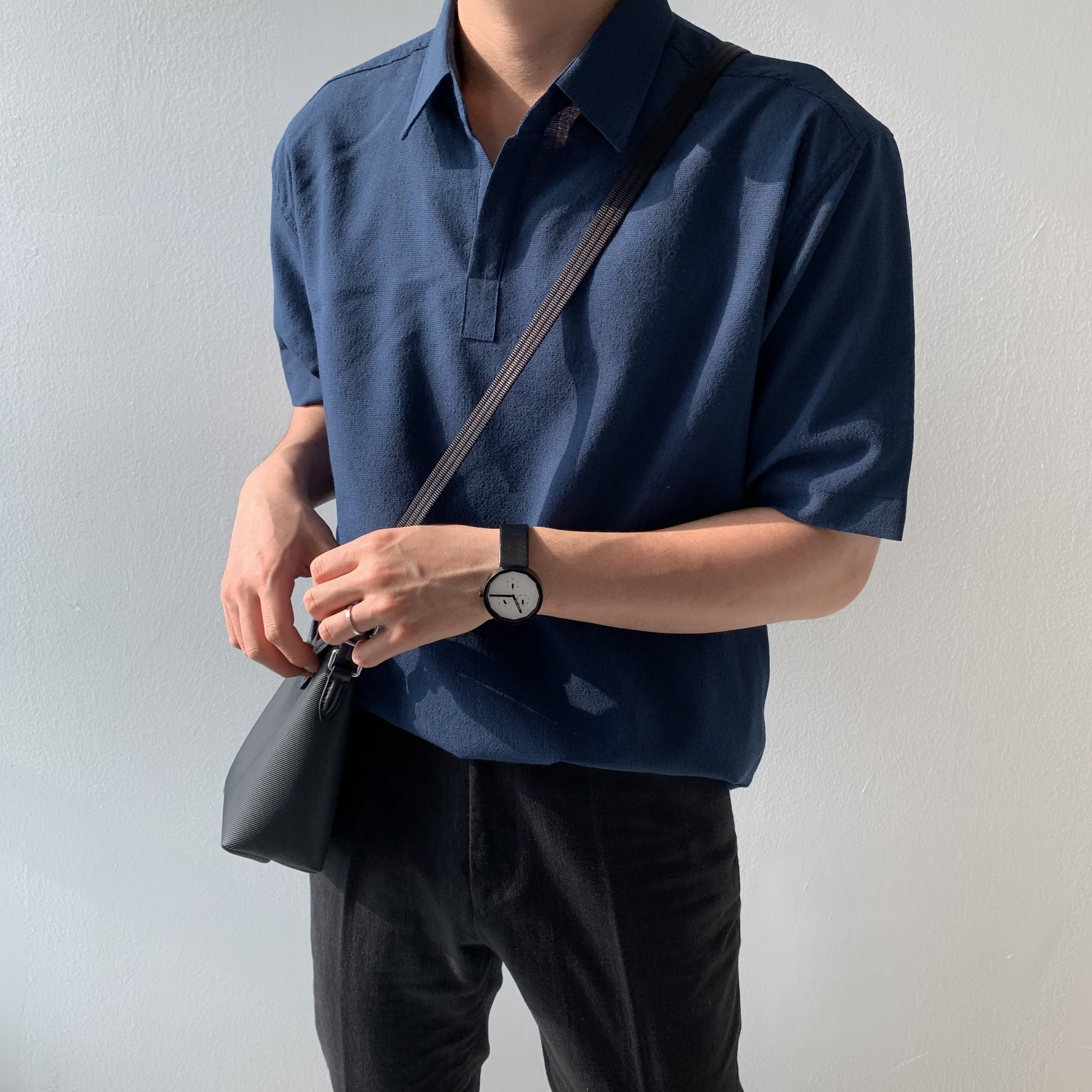 Over-fit Modern Navy linen 1/2 Shirts