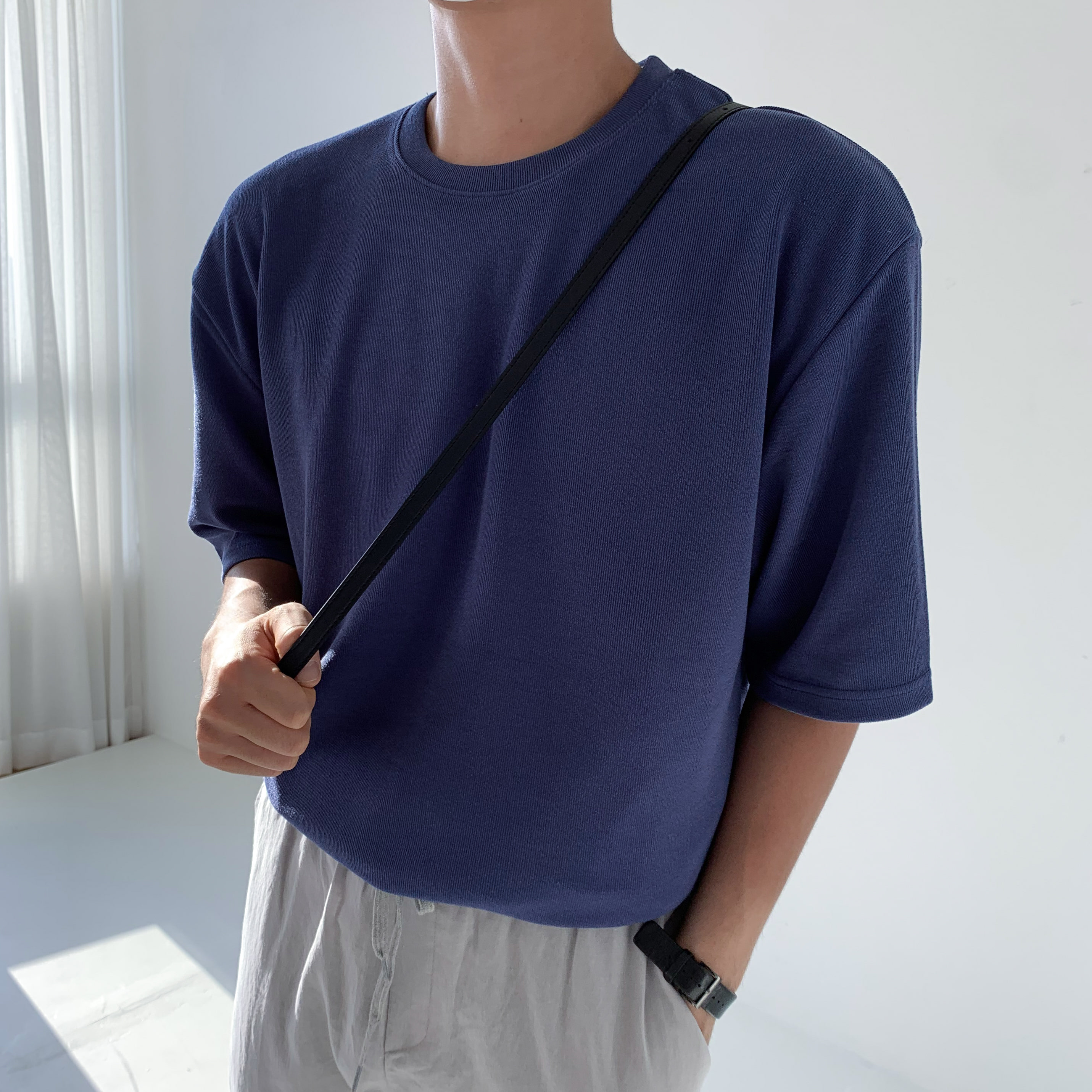Over-fit Daily ICE 1/2 Knit (Blue)