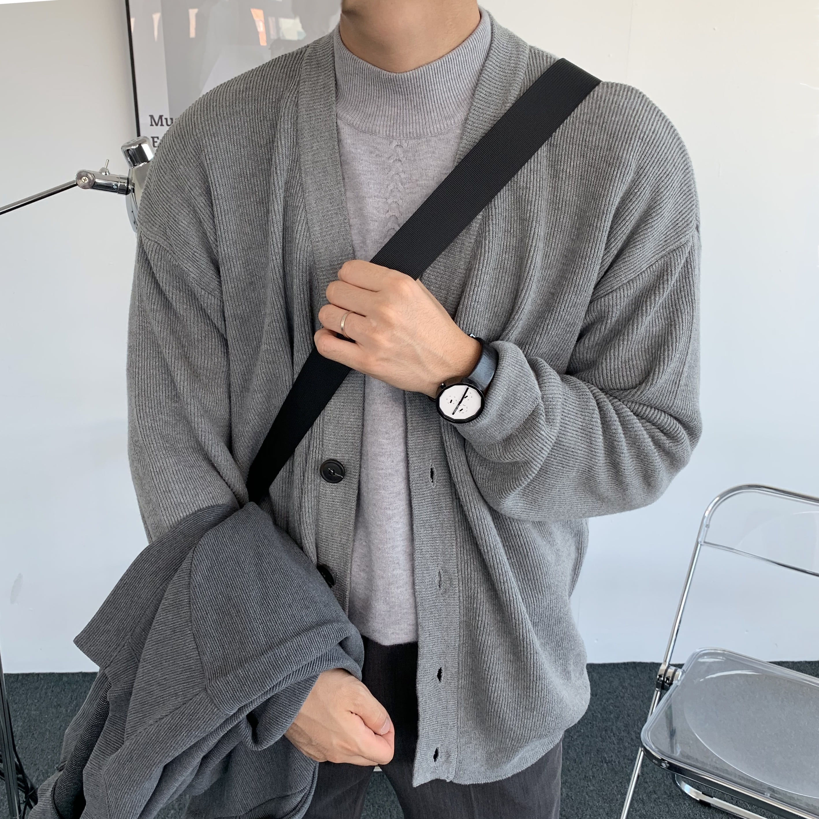 Over-fit Daily Cardigan (Grey)