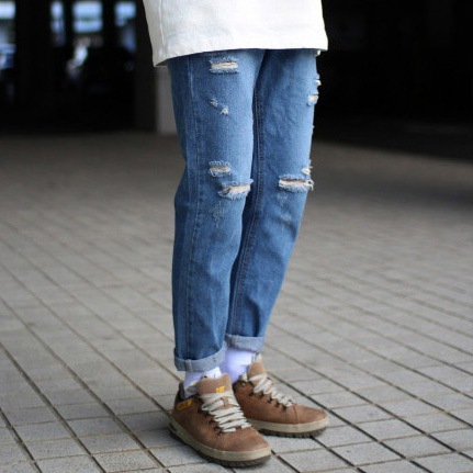 Drop-Fit Vintage Damage Jeans