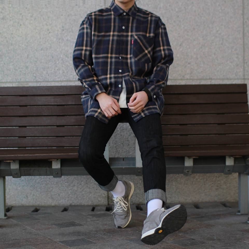 Avant-fit NAVY Check Shirts