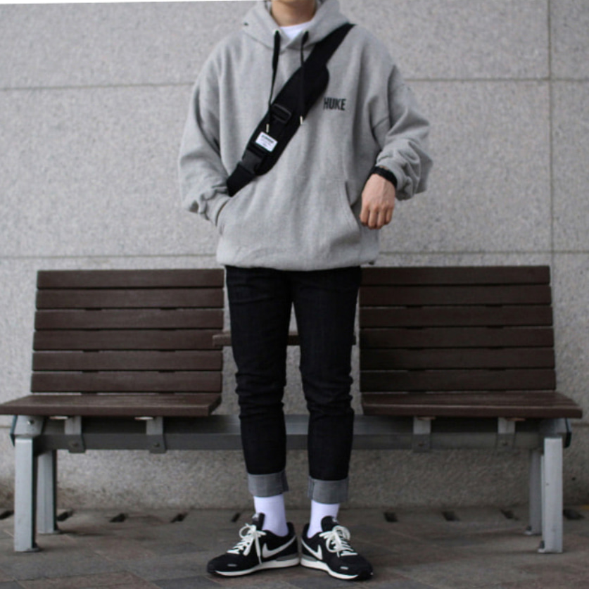 Over-fit HUKE Grey Hood Tee