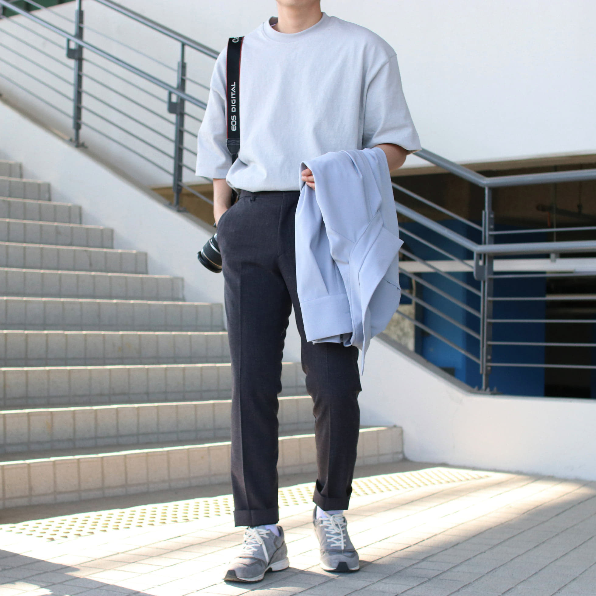Over-fit NINE Grey 1/2Tee