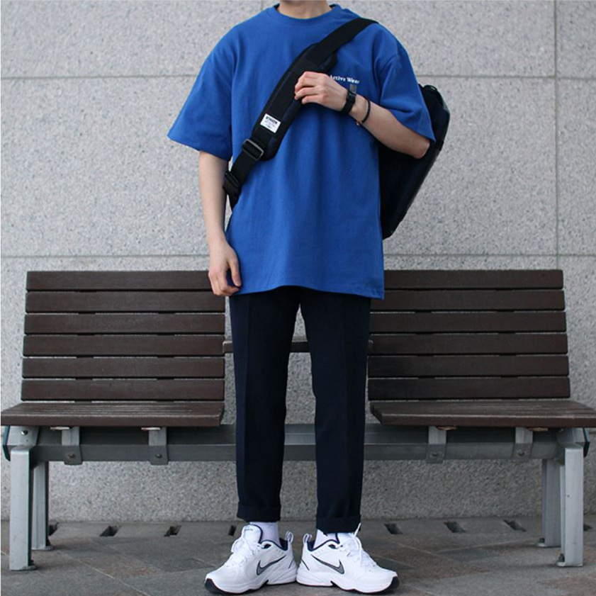 Over-fit Active Blue 1/2 Tee
