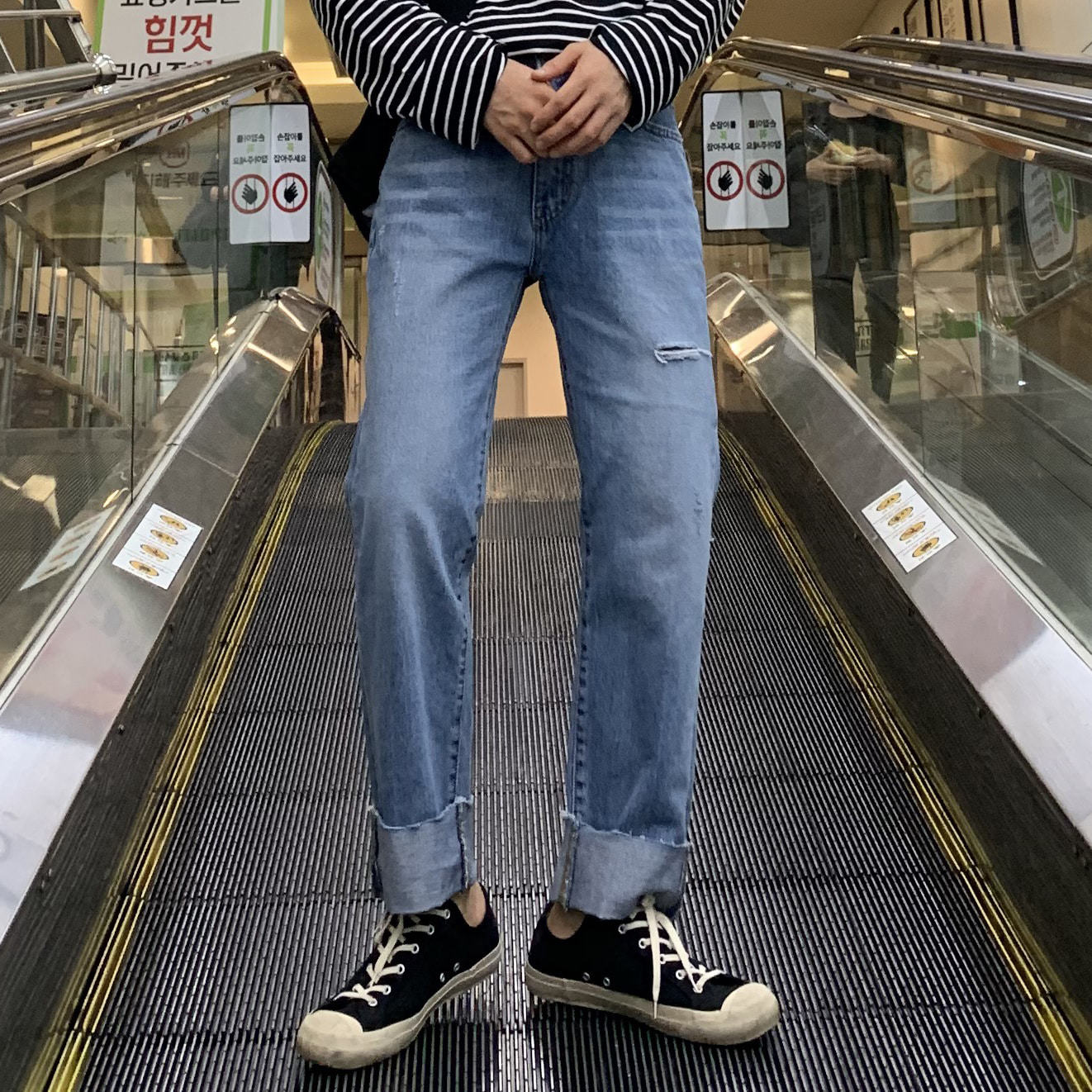 Drop-fit NF68 cutting Jeans(연청)