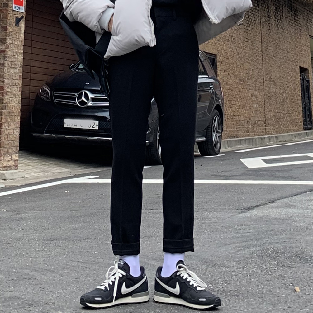 Drop-fit NINE Wool Black Slacs(울혼방)