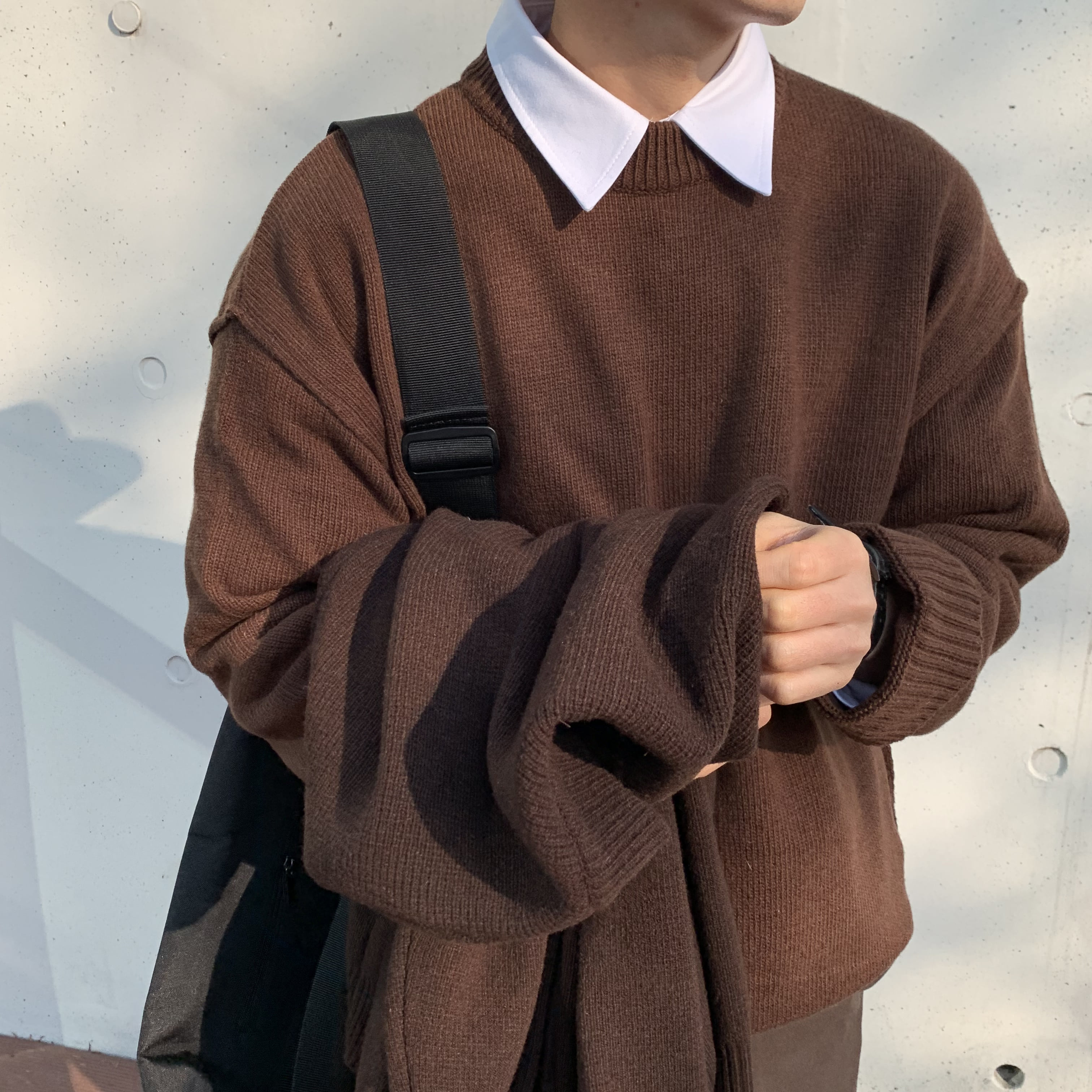 Over-fit NINE Round Knit(Brown)