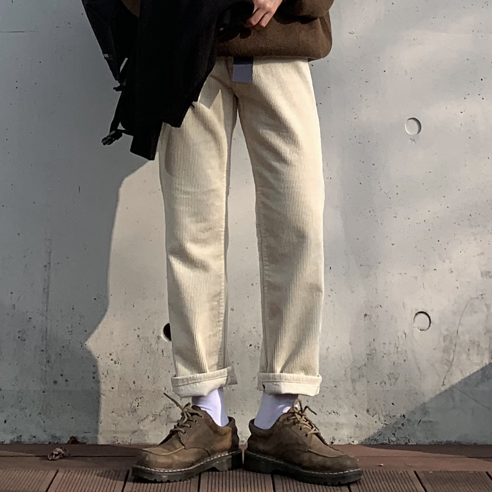 Drop-fit Corduroy Ivory Pants