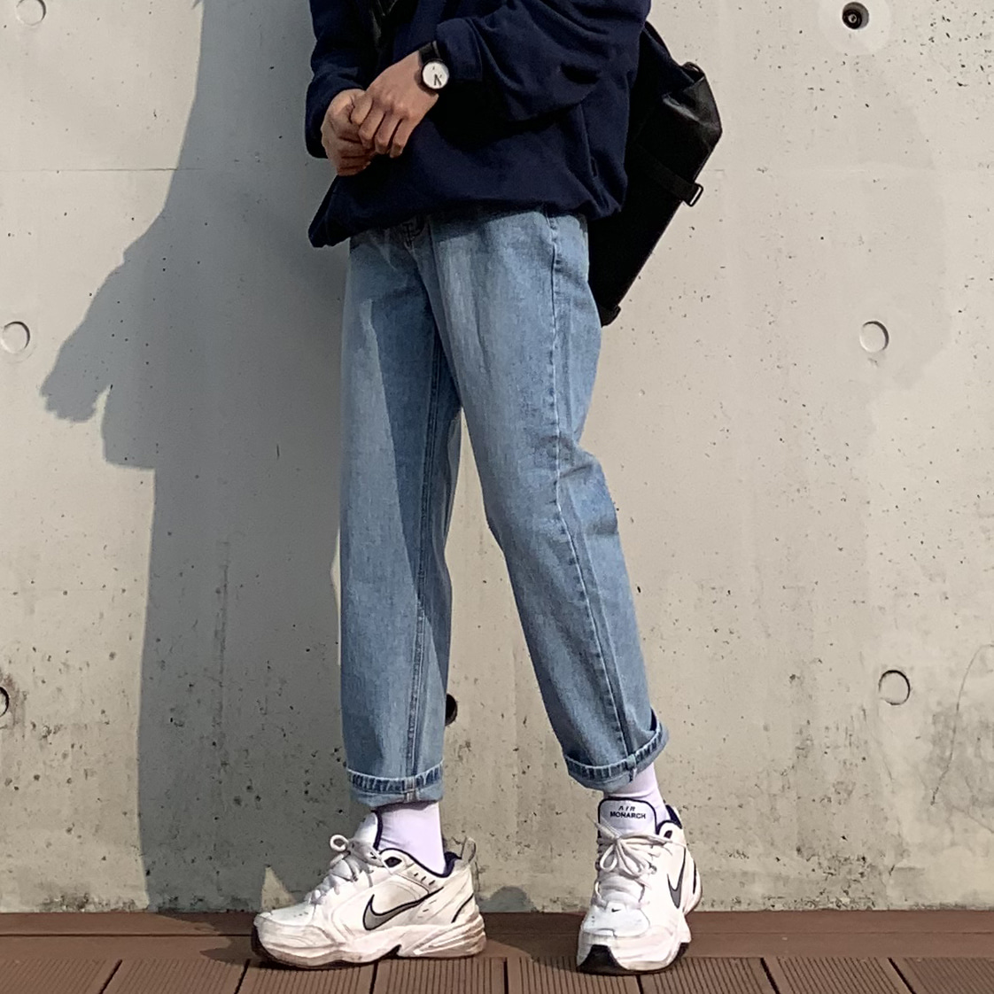 Drop-fit NINE JEANS (연청)