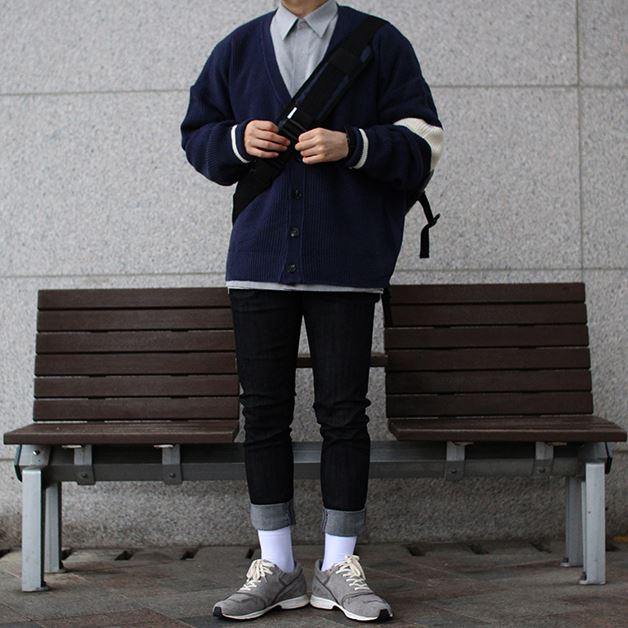 Over-fit HUKE NAVY Cardigan
