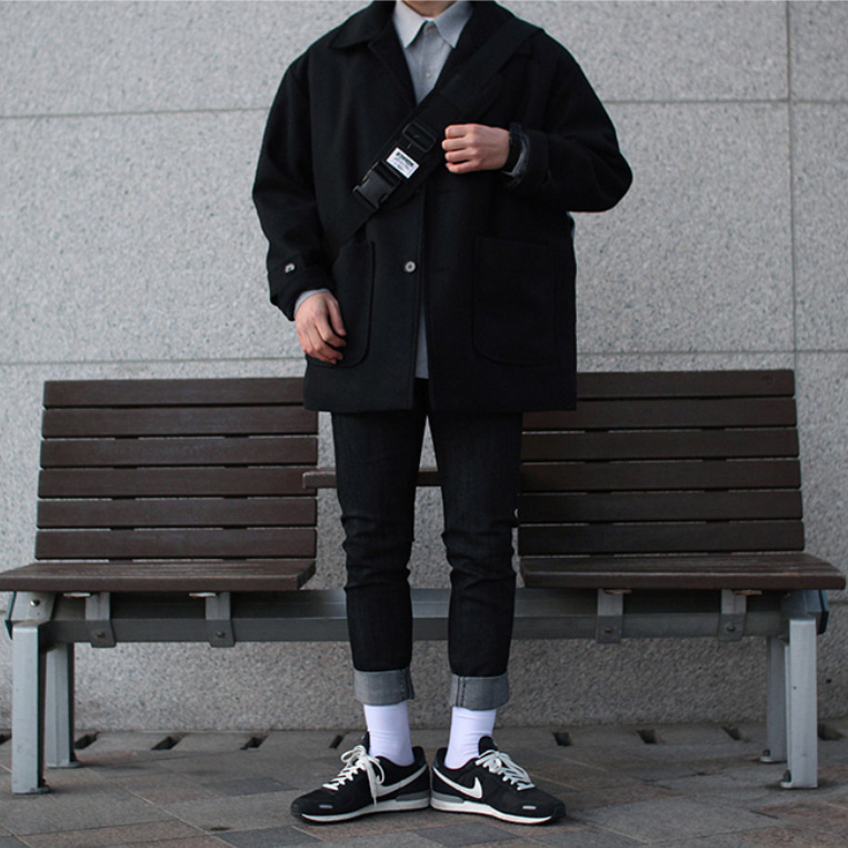 Over-fit ACEPT BLACK Half Coat