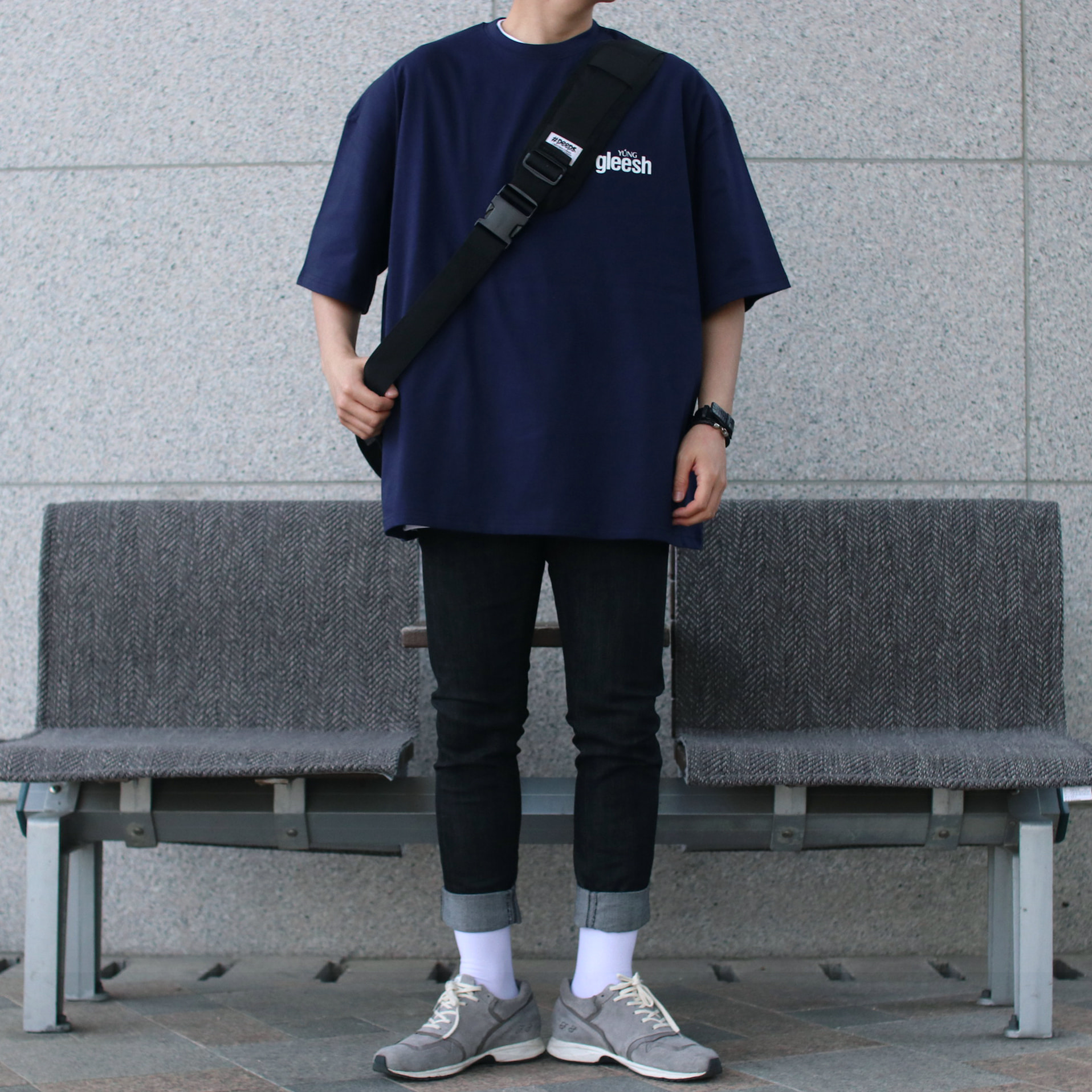 Over-fit PUSH Navy 1/2 Tee