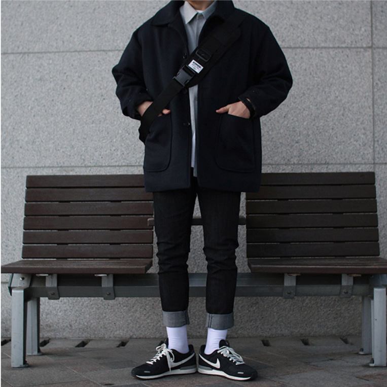Over-fit ACEPT NAVY Half Coat