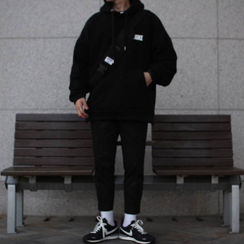 Over-fit HUKE Black Hood-Tee