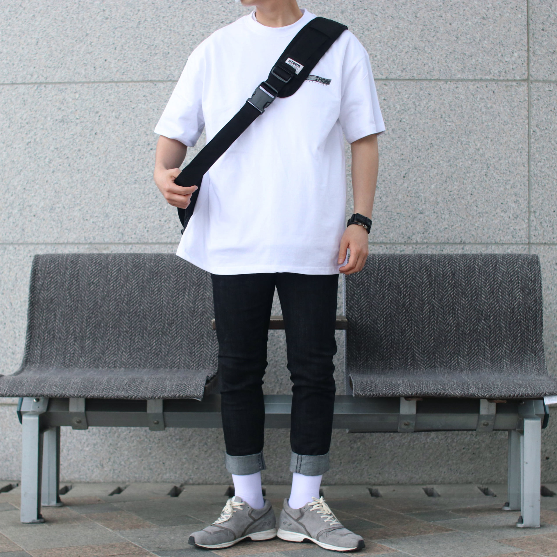 Over-fit NINE White 1/2 Tee