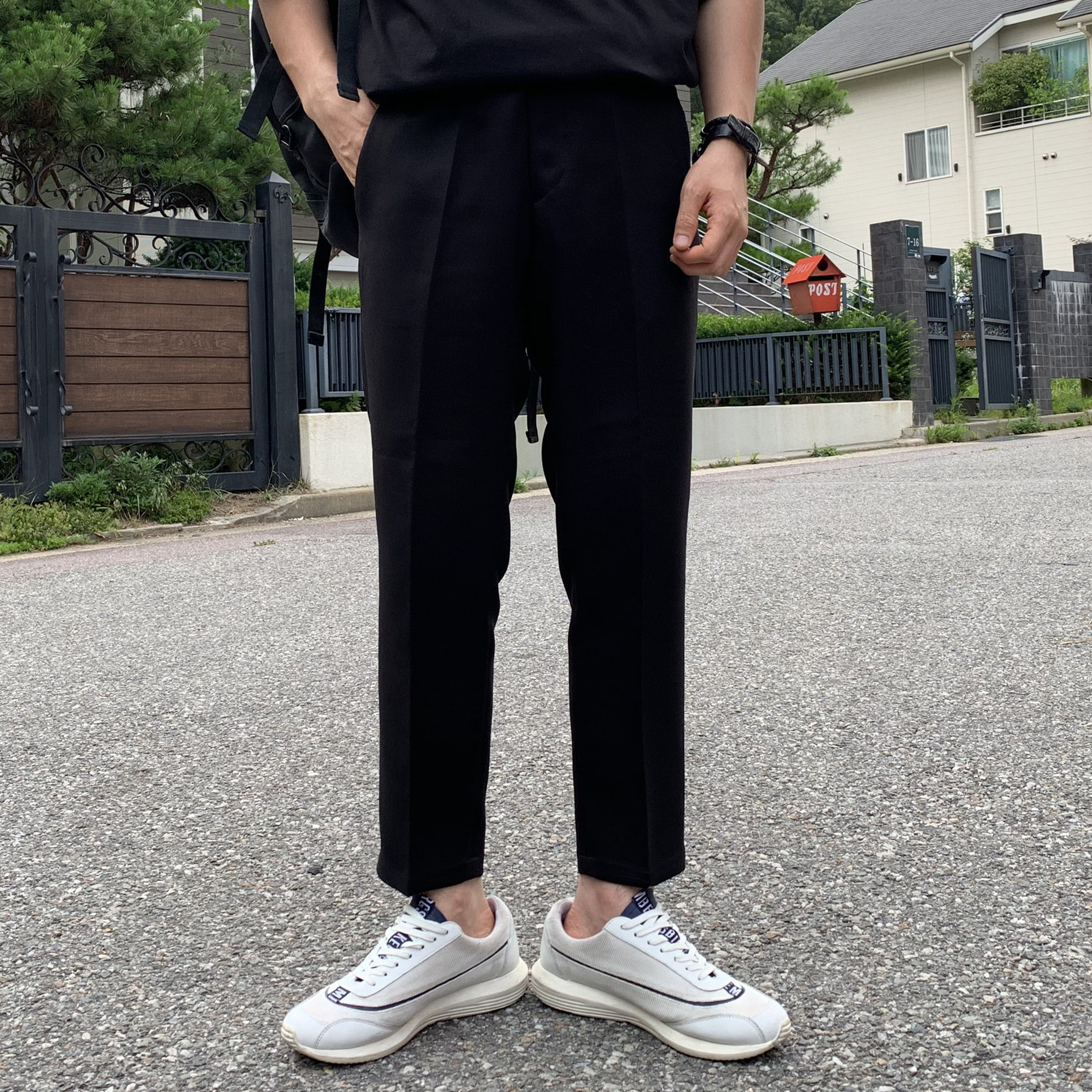 Drop-fit ENT BLACK Slacks (벨트증정)