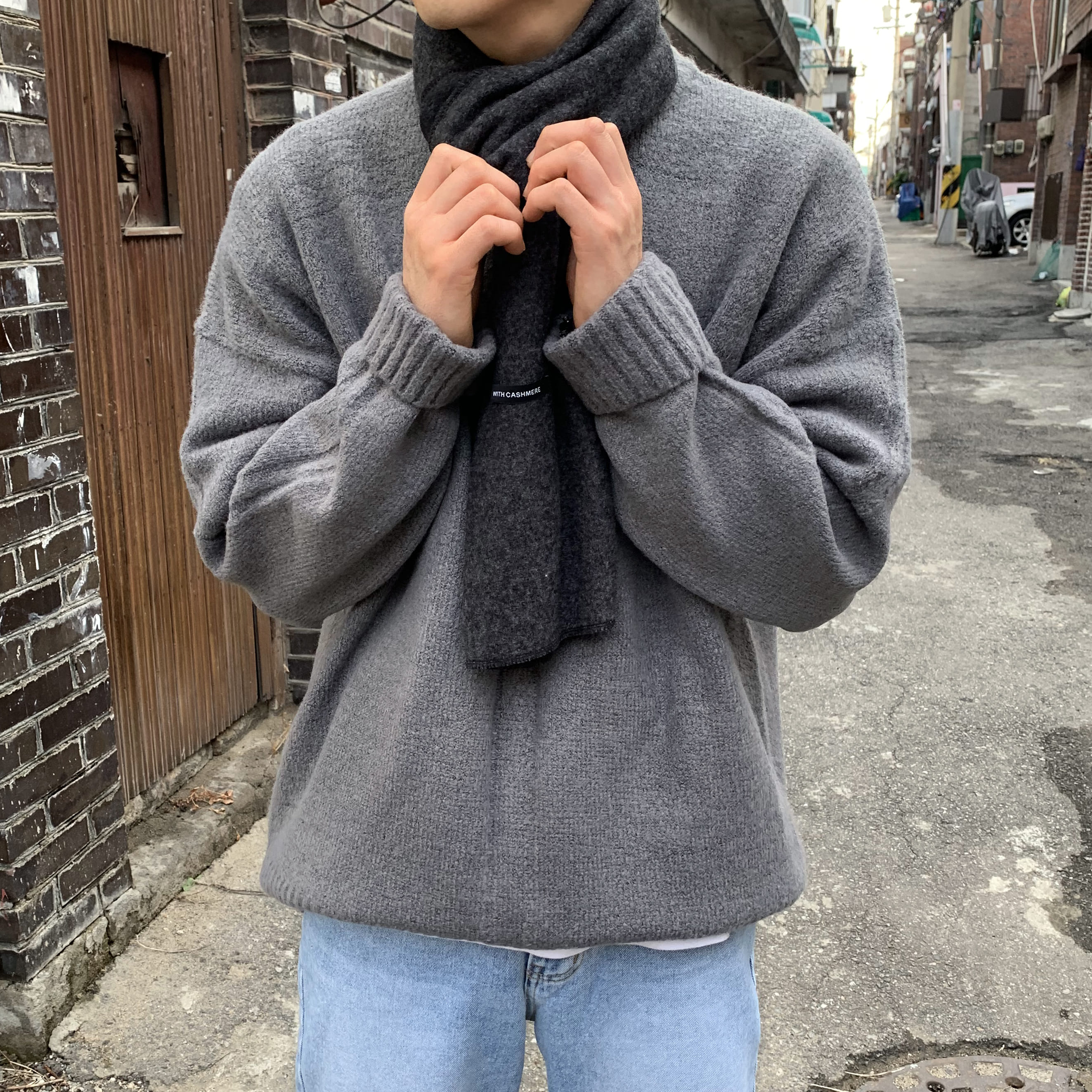 Over-fit NIF Chacoal Knit