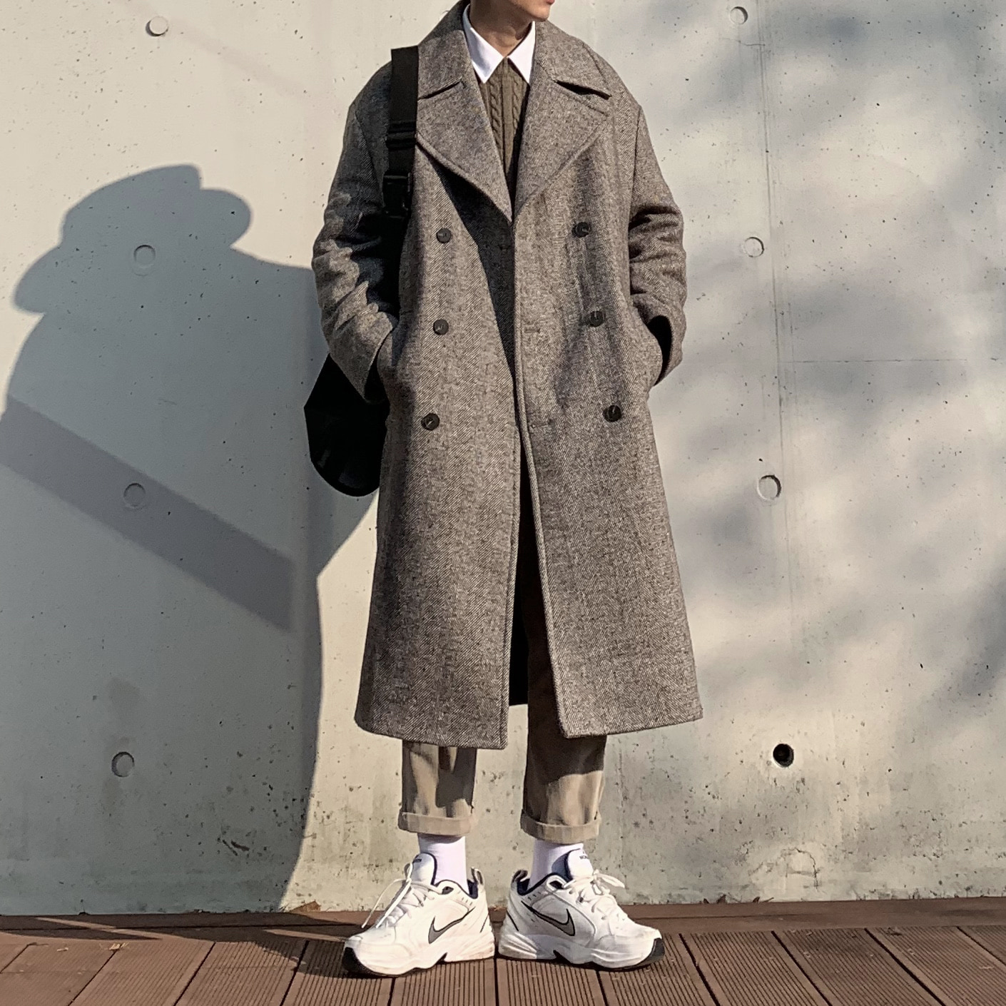 Over-fit NIT Brown Coat