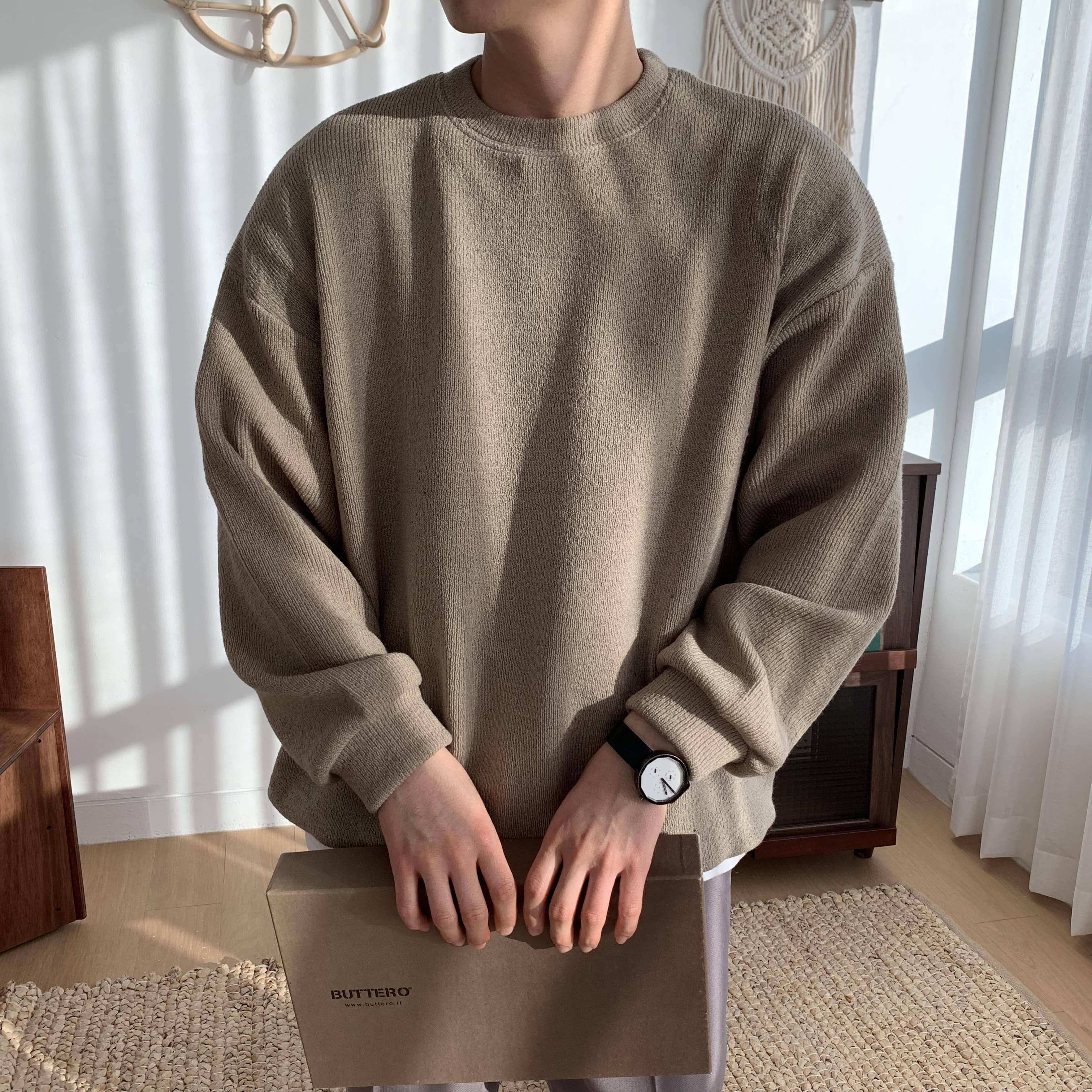 Over-fit LINE Knit MTM (Beige)