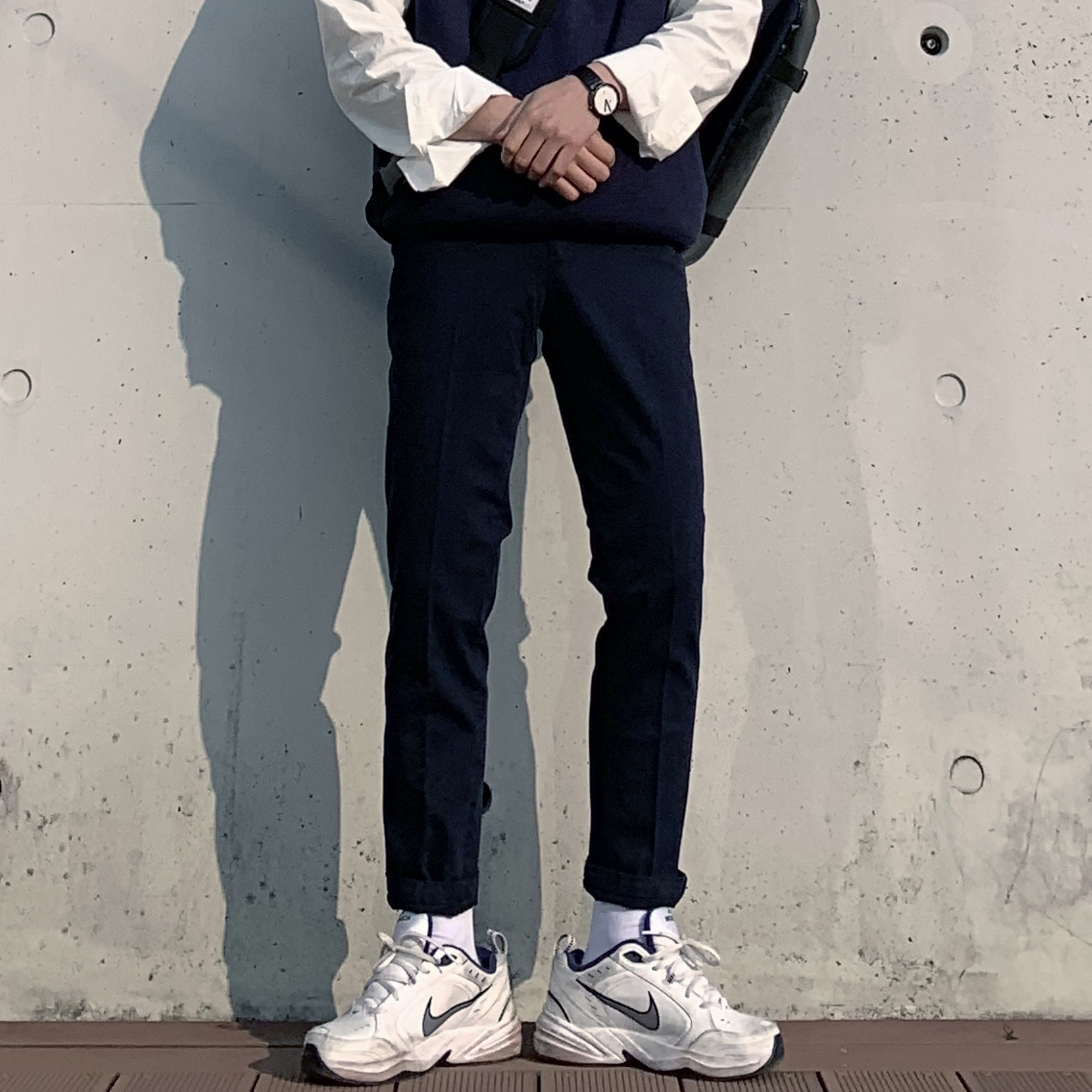 Drop-fit Cotton NAVY Pants