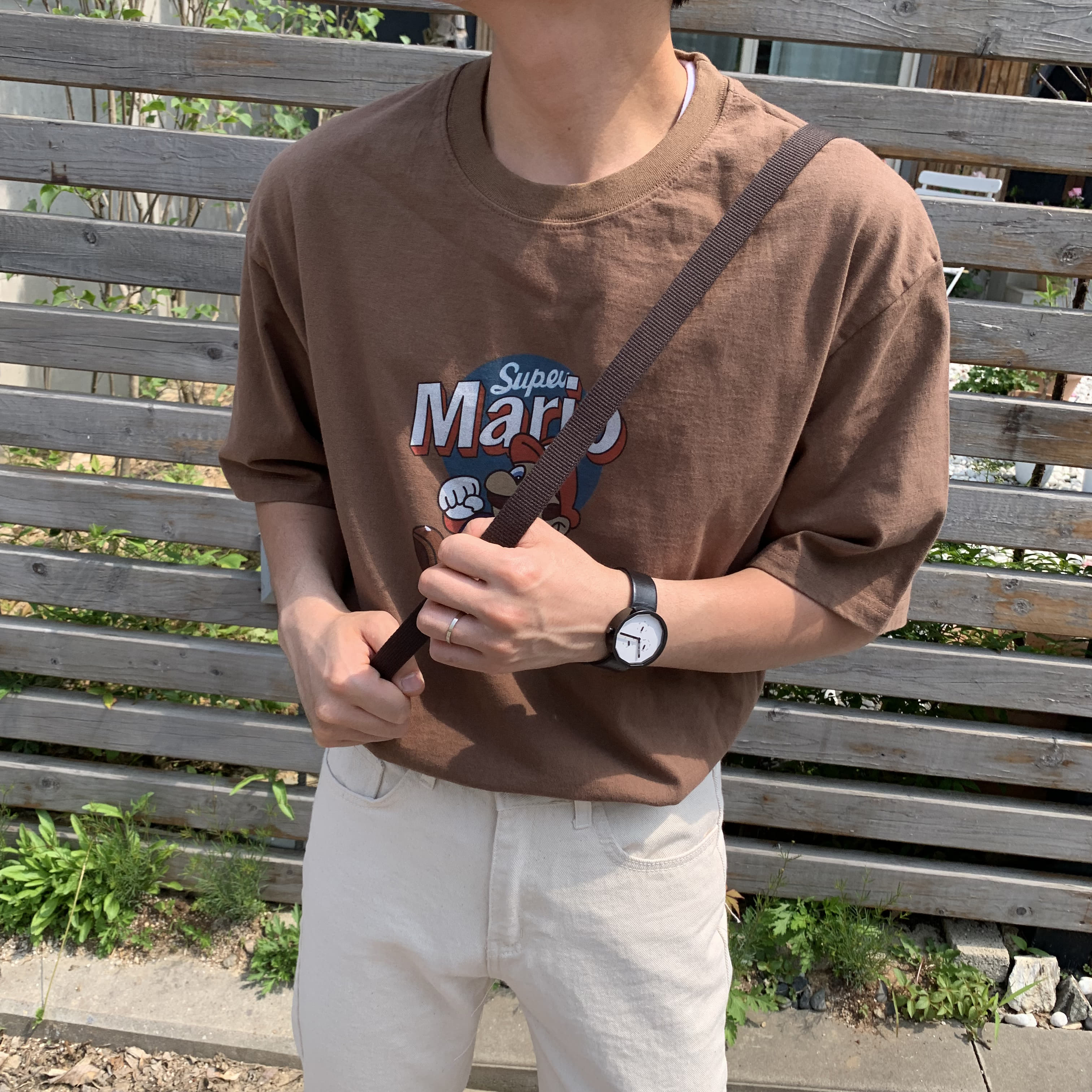 Over-fit TIPS 1/2 Brown Tee