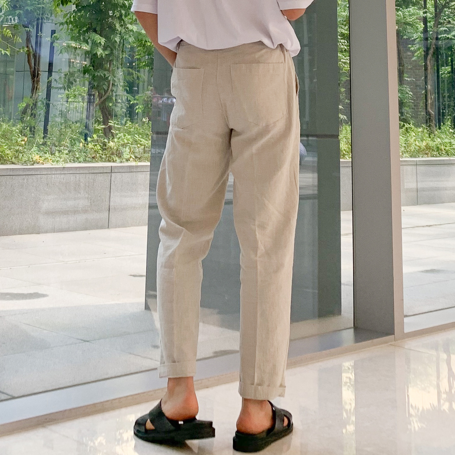 Drop-fit ICE Linen Beige Pants