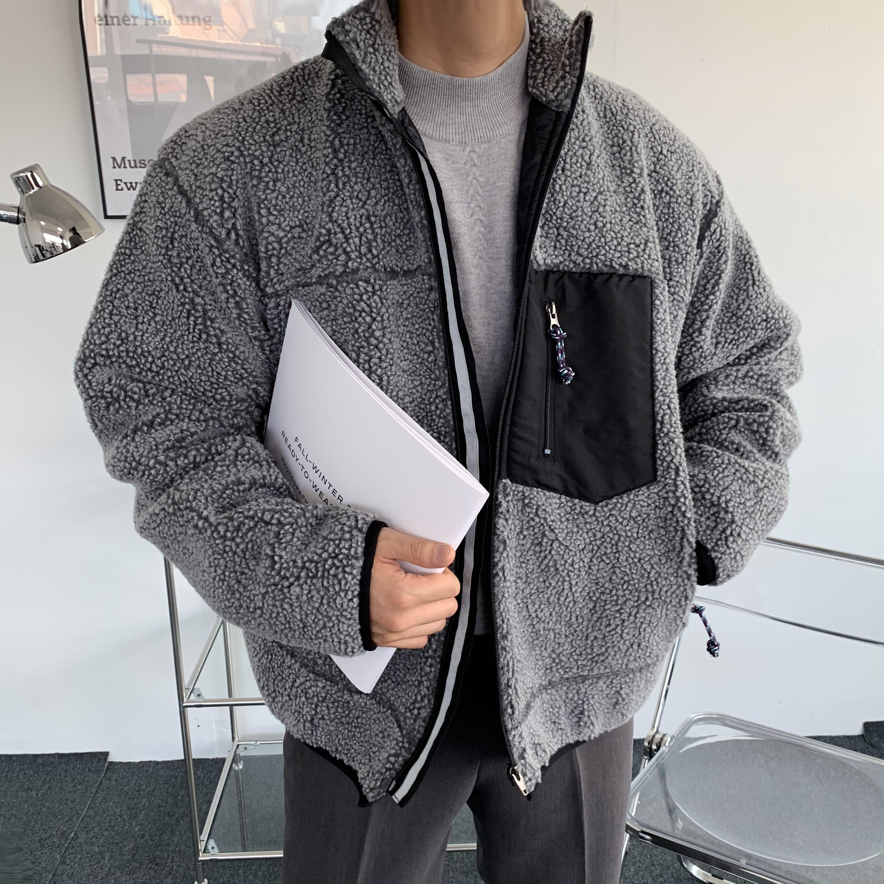 Over-fit Grey Fleece Jacket