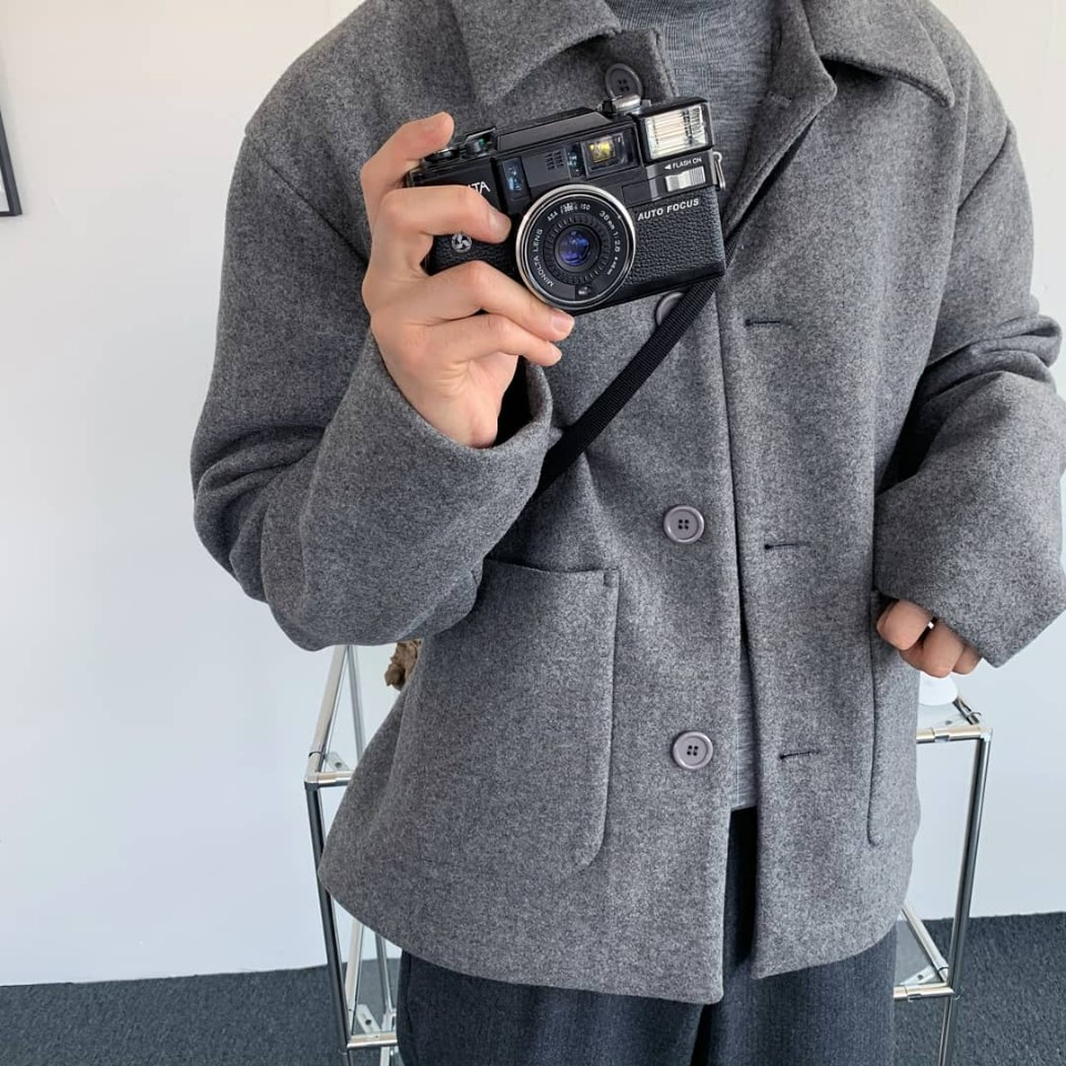 Over-fit Wool Grey Half Coat