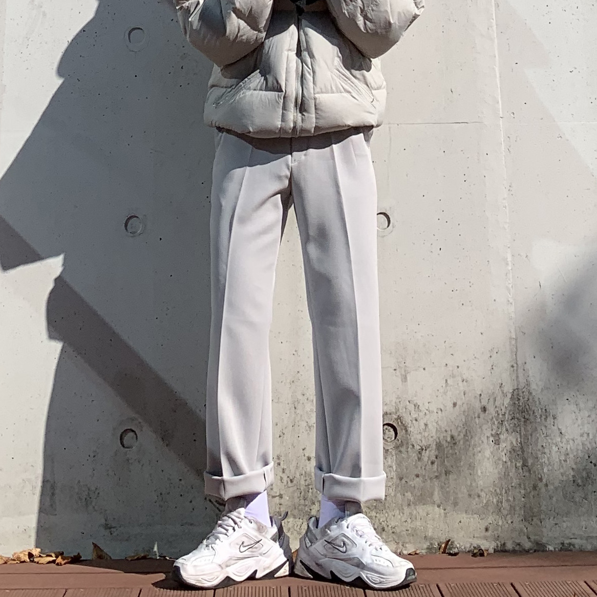 Drop-fit Cream Slacks