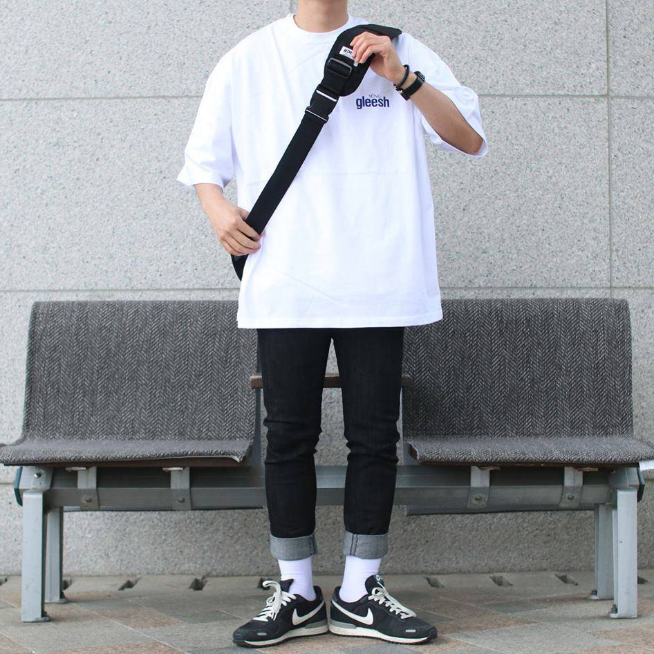 Over-fit PUSH White 1/2 Tee