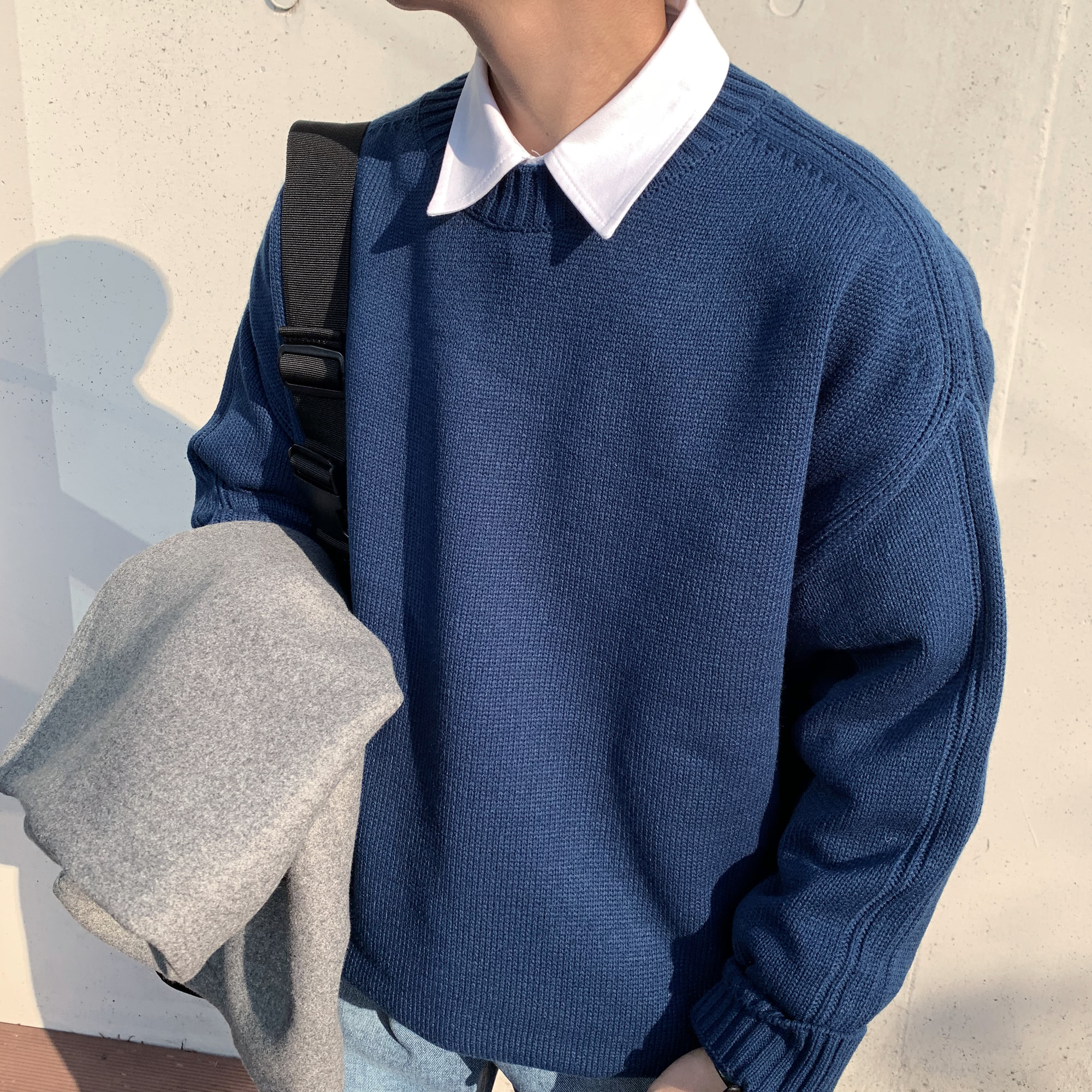 Over-fit NINE Round Knit(Blue)