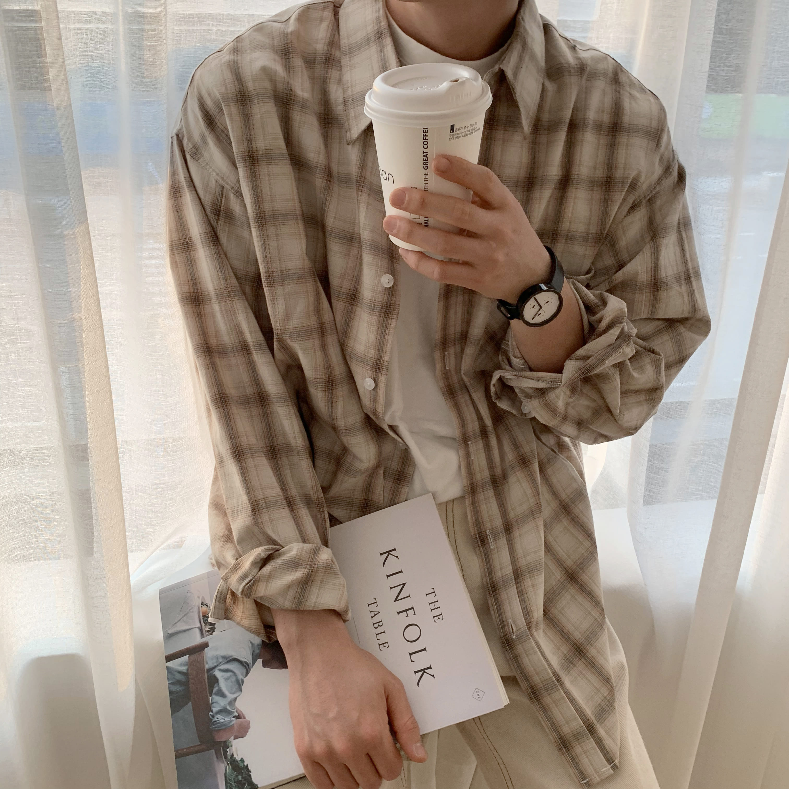 Over-fit Beige Check Shirts