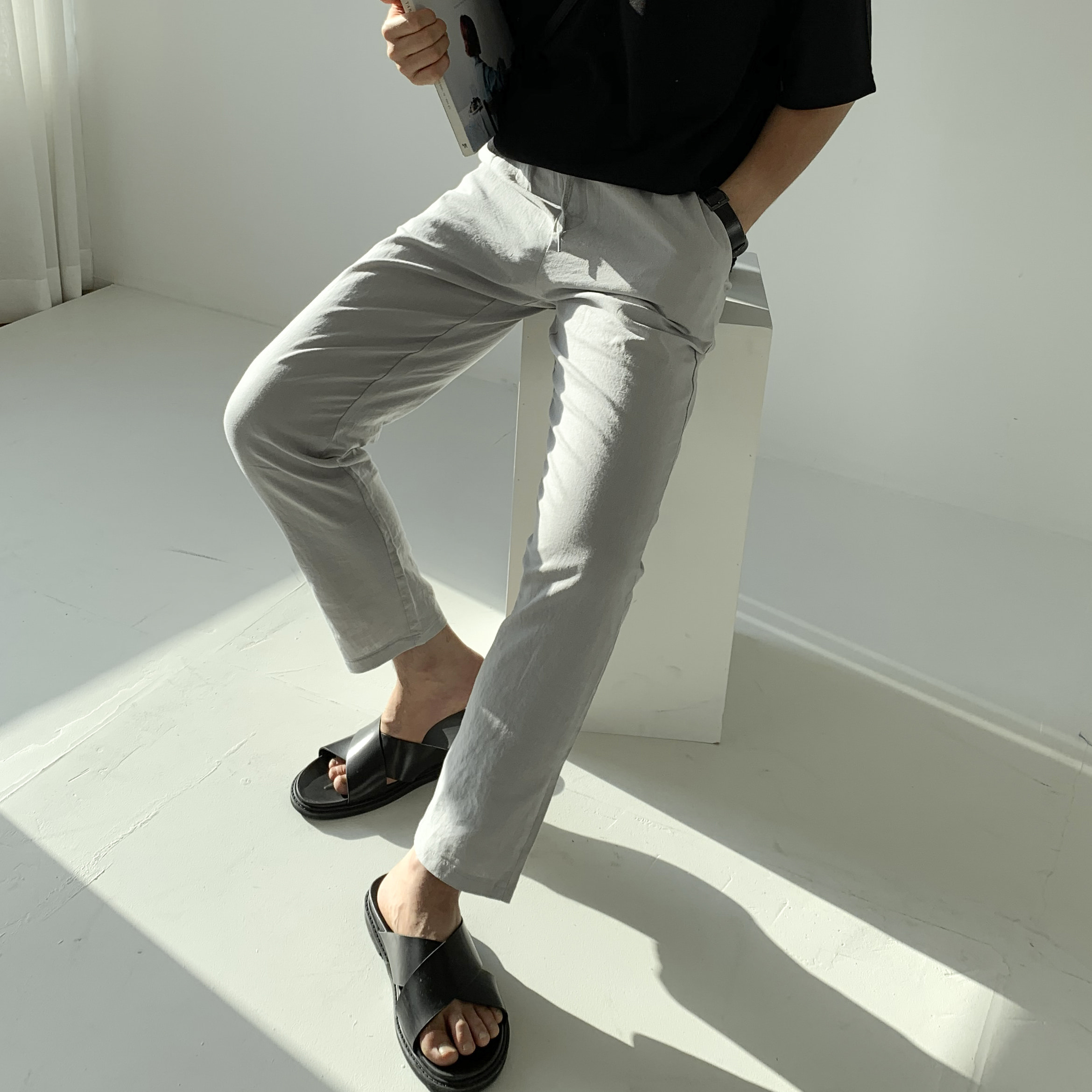 Drop-fit Pastel Grey Pants