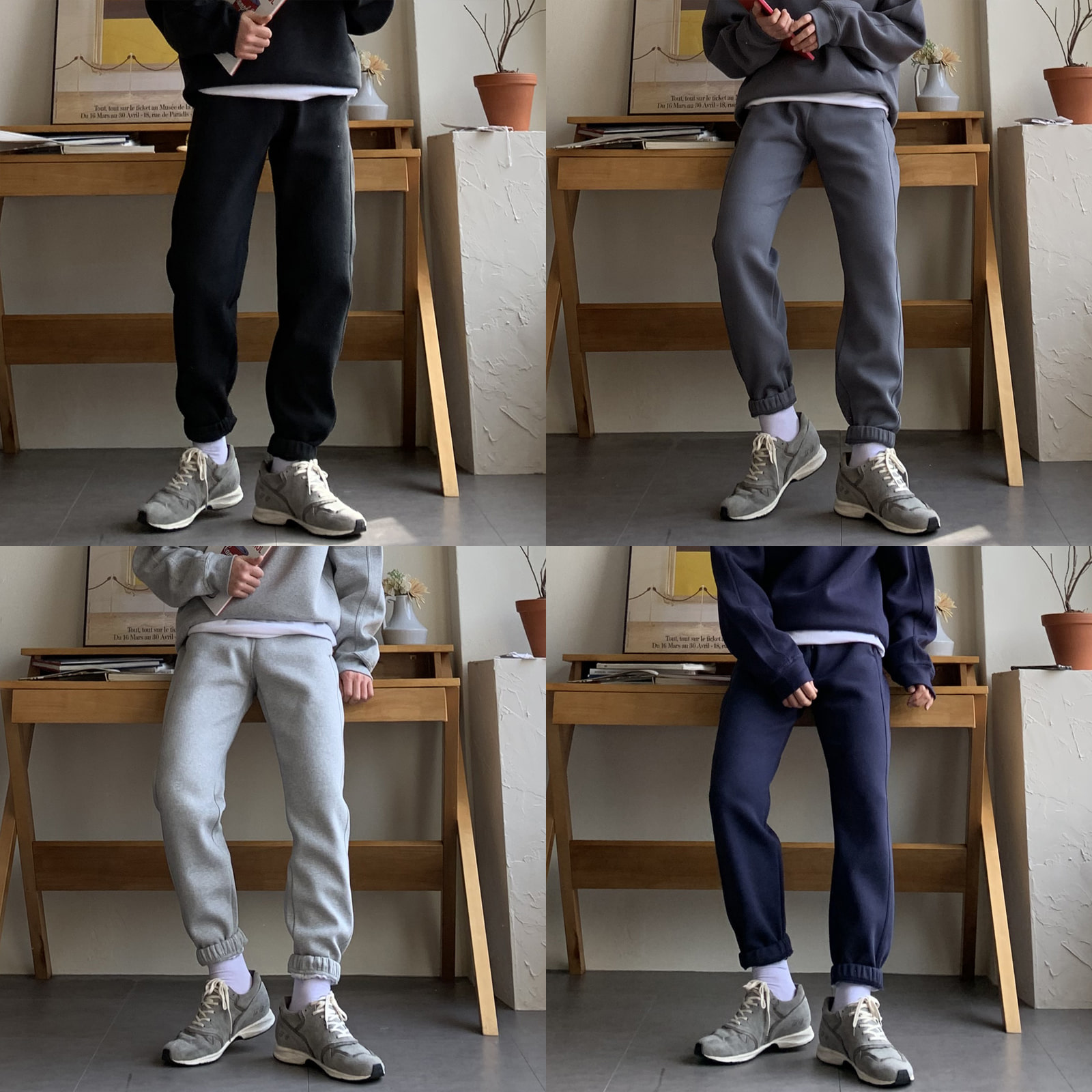 Drop-fit Line Jogger Pants (4color)